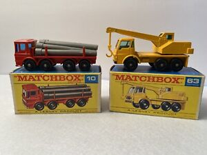 matchbox #10 Pipe Truck And #63 Dodge Crane Truck Both With Original Box
