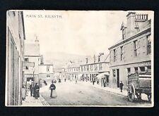 Main Street, Kilsyth Scotland - Vintage Matte PC  Dairy Cart People Pub Shops