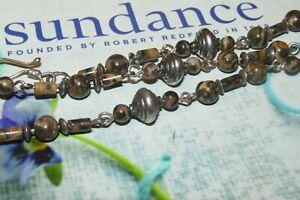 "SUNDANCE catalog Necklace Gemstone 925 Sterling Silver Domed Beads 16"" 15 Grams"