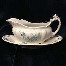 BOOTE T & R ENGADINE GRAVY BOAT & UNDER PLATE 14 OZ BLUE FLOWERS WATERLOO