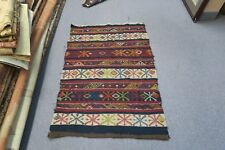 Vintage Hand Woven Embroidery Wool Suzani Sumak Weave Rug Mat 3'7 x 2'5 Moroccan