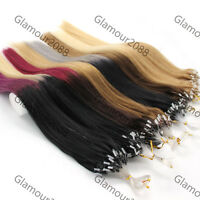 """100s 16""""40g Easy Loop Micro Rings Beads Remy Human Hair Extensions Straight"""