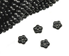 100 Black Flower Spacer Czech Glass Beads 5MM