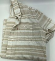Levis Mens Short Sleeve Button Up Striped Tan White Linen Size M