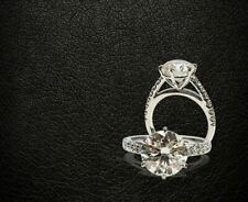 3Ct Off White Round Cut Moissanite Bridal Engagement Ring 925 Sterling Silver