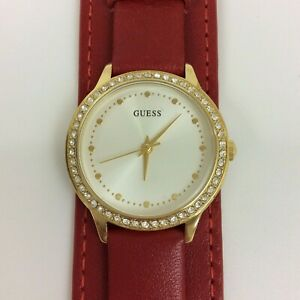 NWOT Guess Watch Womens Gold Tone Pave Red Leather Cuff New Battery U1150L1