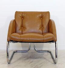 Mid Century Modern Tubular Chrome Lounge Chair Embossed Naugahyde Baughman Era