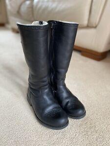 Froddo Girls Black Leather Long Boots Size EU32 UK 13.5