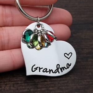 Personalised Birthstone Heart Keyring Custom Kids Name Keychain Mothers Gift