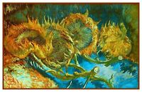 Sunflower Study #2 Impressionist Vincent Van Gogh Counted Cross Stitch Pattern