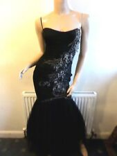 Karen Millen Black Tulle Fishtale Jewel Evening Corset Dress Size 8 - 10
