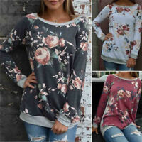 Fashion Casual Womens Long Sleeve Tops Ladies Loose Floral Blouse Top T Shirt