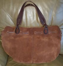 Lucky Brand Drawstring Bucket Hobo Satchel Tote Coco Brown Suede Leather, EUC