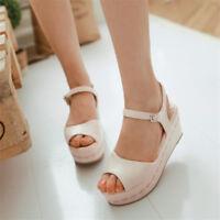 Womens Peep Toe Platform Wedge High Heels Ankle Strap Slingbacks Sandals Shoes