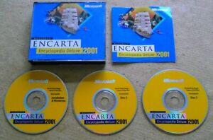 MICROSOFT ENCARTA 2001 ENCYCLOPEDIA DELUXE - 3 x DISC PC CD ROM SET - JEWEL CASE