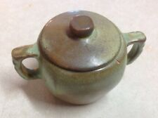 Vintage Frankoma ? Green And Brown Handmade Pottery Sugar Bowl With Lid