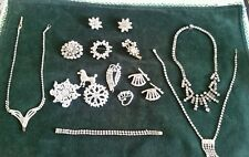 16 PIECES OF OLD VINTAGE USED RHINESTONE JEWELRY 2 WEISS,1 CORO