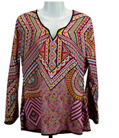 FEATHERS BY TOLANI Size Medium Abstract And Floral Long Sleeve Blouse Top