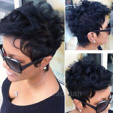 Cheap Short Human Hair Wigs Pixie Bob Cut Straight Curly Black Brown Mix Wig #GD