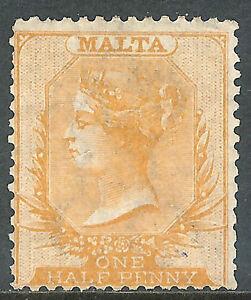 Malta 1875 yellow-buff 1/2d mint crown CC SG10