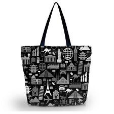Black and White  Womens Large Foldable Tote Shoulder Shopping School Bag Handbag