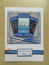 Luxury Hand-Made 'Smart Phone' Male Birthday Card -Can be Personalised-Any Age