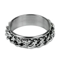 Men's Stainless Steel Curb Chain Band Ring UK Size: T 1/2 - Silver R7O6