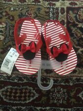 Nwt Disney Minnie Mouse Red Stripes Slipper Sandals Size 5/6