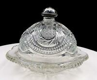 "EAPG EARLY AMERICAN PATTERN GLASS 5"" BUTTER DISH WITH DOME LID 1850-1910"