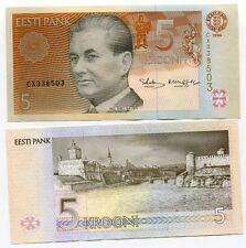 ESTONIA   5  KROONI  1994 Prefix CR   P 76   Uncirculated Banknotes