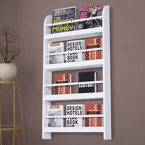 HOMCOM Wall-Mounted/Standing 4-Tier Wood Book Shelf Water Resist For Home Office