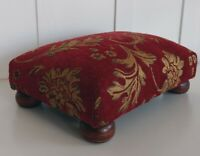"Vintage Upholstered Wooden Foot Rest Step Stool 6"" x 10.5"" x 15"" Burgundy A"