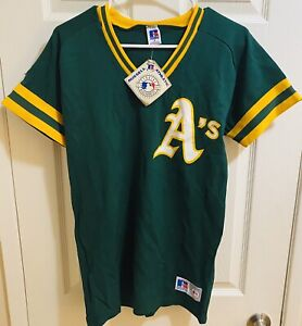 NEW Vintage Oakland Athletic A's Jersey Pullover Shirt Russell Athletic size S