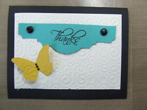 Handmade THANK YOU Card Using Stampin Up! Butterfly EMBOSSED