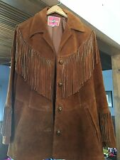 Women's Hippie Western Leather Suede Jacket Fringe Sz 14 Vintage Ms. Pioneer USA