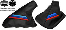 BLACK LEATHER M STRIPES GEAR & HANDBRAKE GAITER FITS BMW E36 E46 1991-2005