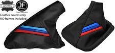 BLACK LEATHER M STRIPES GEAR & HANDBRAKE GAITER FITS BMW E36 E46 1991-2005