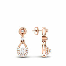 Stylish 0.50 Cts Natural Diamonds Stud Earrings In Solid Certified 14K Rose Gold