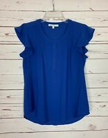 Daniel Rainn Stitch Fix Women's S Small Blue Ruffle Short Sleeve Cute Top Blouse