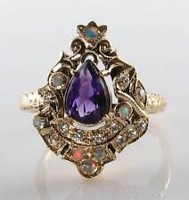 MAJESTIC 9K 9CT GOLD AMETHYST OPAL DIAMOND LONG VICTORIAN INS RING FREE RESIZE