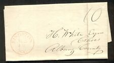 NEW YORK, Kingston 1841 folded letter w/red town cancel and m/s 10, VF