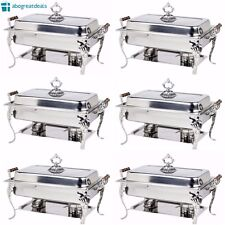 6 PACK Chafing Dish Buffet Server Chafer Catering Equipment STAINLESS STEEL 8 QT