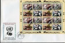 UNITED NATIONS SPECTACULAR COVER HOLDING 2001 ENDANGERED SPECIES 19 FDC  7 CARDS