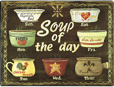 New Soup of The Day Tomato Chicken Noodle French Onion Clam Chowder Metal Sign