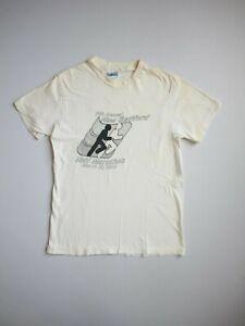 VTG 80s Paperthin Running Marathon Single Stitch T-Shirt Faded Ivory Size XS