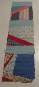 "50's Vintage Quilt Pieced 3 blocks 41"" x 10.5"" runner RWB colors"