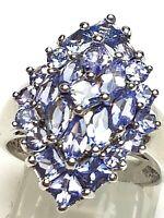 XL 925 Silber Ring natürliche Tansanit Steine Edelsteine RG 55 Meisterpunze NTF