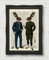 GOLFING HARES FATHERS DAY GIFT ANIMAL ART GOLFER GIFT  BOOK PAGE ART PRINT