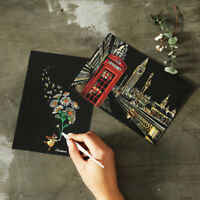 4PCS 20cm X 14cm Magic Scratch Art Painting Paper With Drawing Stick Painting