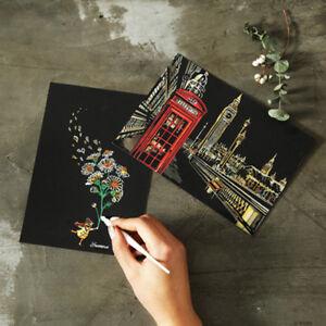 4pcs 20x14cm Magic Scratch Art Painting Paper With Drawing Stick Kids Toy UK